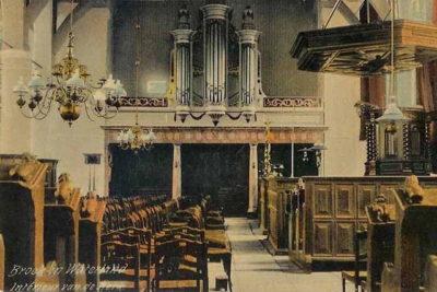 Interieur Broeker Kerk rond 1910