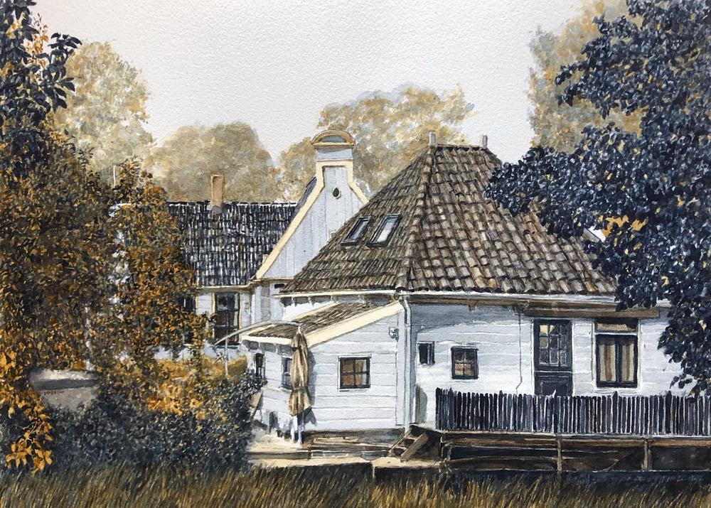 Bram-Stoof-Huizen-in-Broek-in-Waterland-aquarel